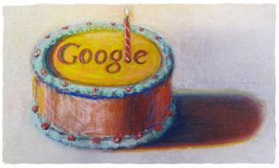 Happy 12th Birthday Google by Wayne Thiebaud. Image used with permission of VAGA NY