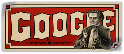 Google Doodle on American Magician Harry Houdini's 137'th Birthday