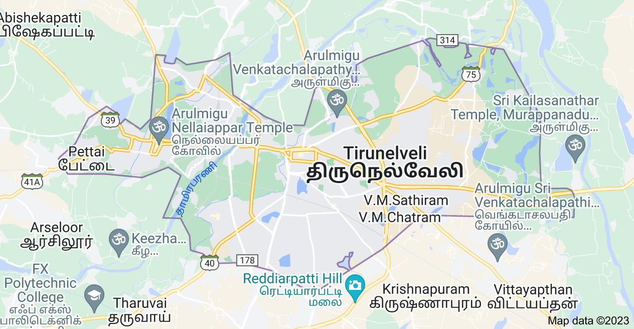 Map of Tirunelveli, Tamil Nadu, India