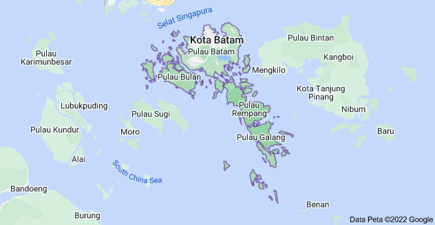 Peta باتم، Batam City, كيبولايوان رياو